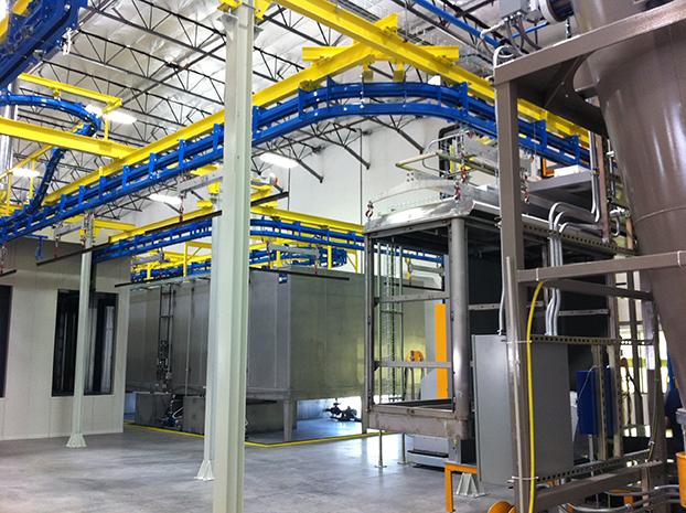 Powder coating plant on double rail conveyor